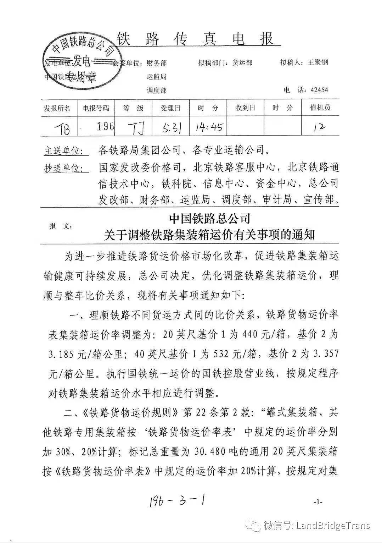 中国铁路总公司:关于调整铁路集装箱运价有关事项的通知